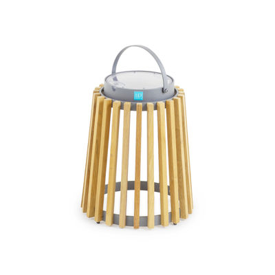 Lighting - Table Lamps - Solare Solar lamp - / Teak - H 40 cm / Solar or USB charging by Unopiu - Graphite / Teak - Aluminium, Teak