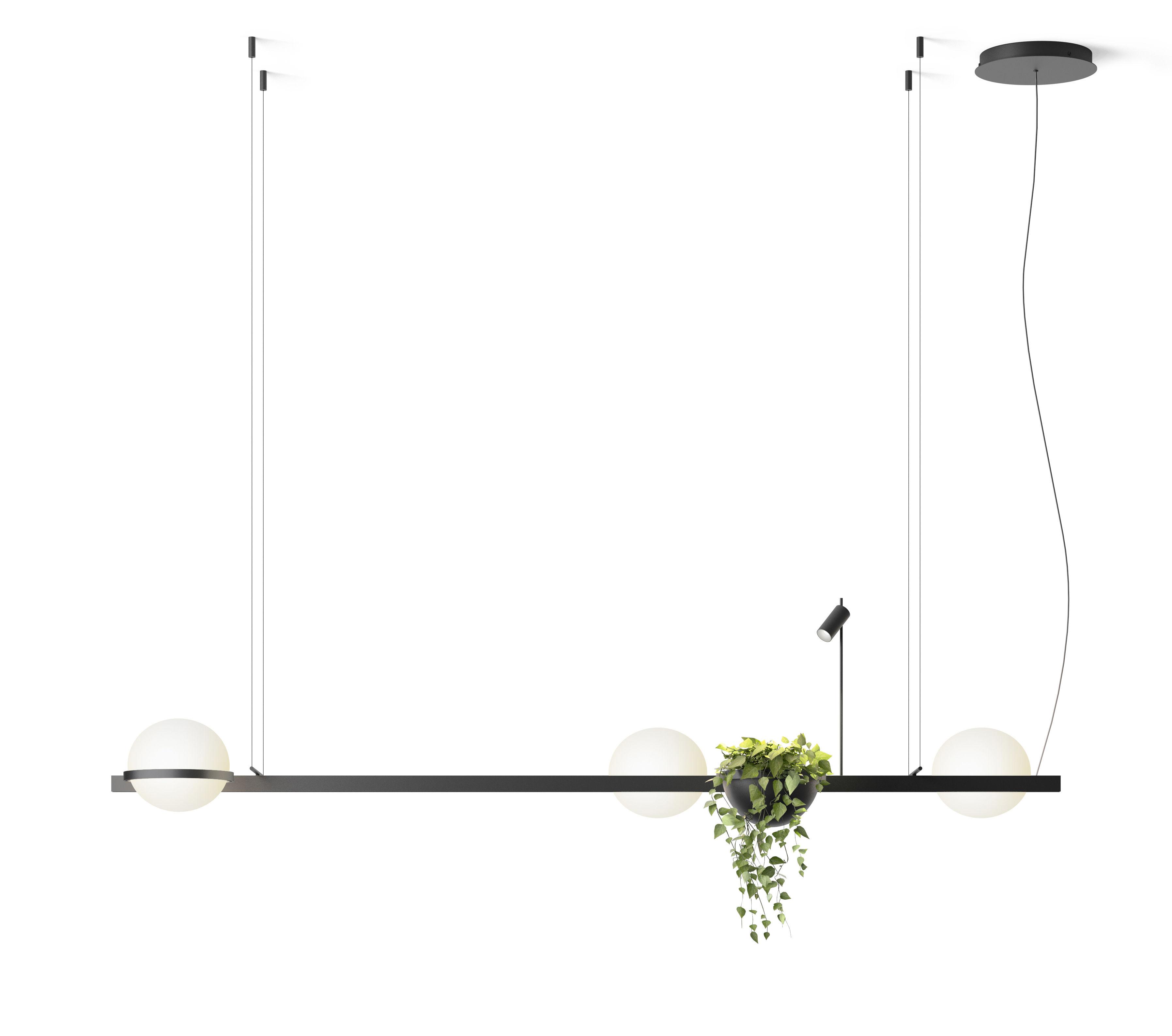 Illuminazione - Lampade da parete - Sospensione Palma - / Orizzontale tripla & fioriera di Vibia - Laccato grafite opaco - Alluminio, PMMA, Verre soufflé opalin