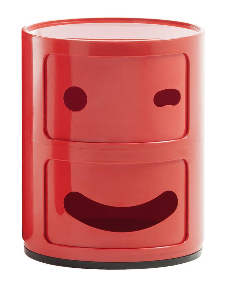 Furniture - Kids Furniture - Componibili Smile N°3 Storage - / 2 draws - H 40 cm by Kartell - nb 3 / Red - ABS