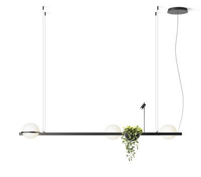 Suspension Palma / Horizontale triple & jardinière - Vibia laqué graphite mat en métal