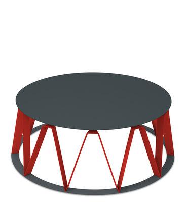 Table basse Auguste / Ø 74 x H 26 cm - Métal - Presse citron rouge,granit en métal