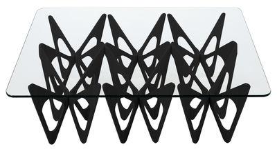 Table basse Butterfly / Rectangulaire - 90 x 120 cm - Zanotta noir,transparent en verre