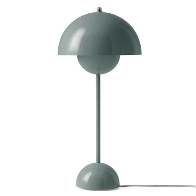 Lighting - Table Lamps - FlowerPot VP3 Table lamp - / H 50 cm - By Verner Panton, 1969 by &tradition - Stone Blue - Lacquered aluminium