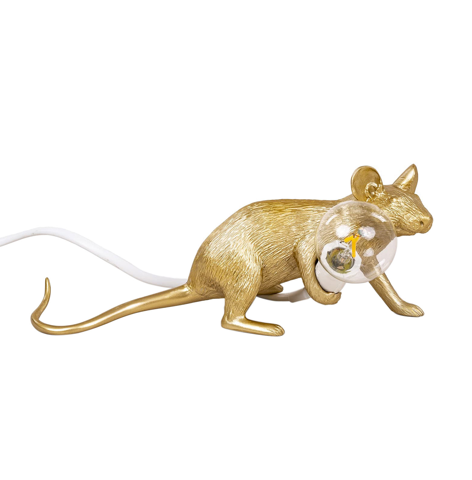 Decoration - Children's Home Accessories - Mouse Lie Down #3  Table lamp - / Reclining mouse by Seletti - Reclining mouse / Gold - Resin