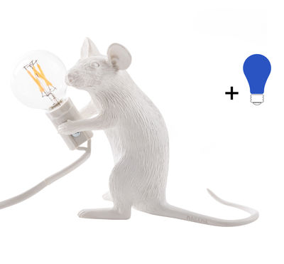 Decoration - Children's Home Accessories - Mouse Sitting #2 Table lamp - / Sitting mouse - Exclusive by Seletti - Sitting mouse / White / Coloured bulb - Resin