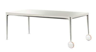 Mobilier - Tables - Table rectangulaire Big Will / 240 x 110 cm - Magis - Plateau blanc translucide / Pieds alu poli - Caoutchouc, Fonte d'aluminium poli, Verre trempé