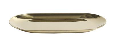 Tischkultur - Tabletts und Servierplatten - Tray Tablett klein / L 18 cm - Hay - Goldfarben - rostfreier Stahl