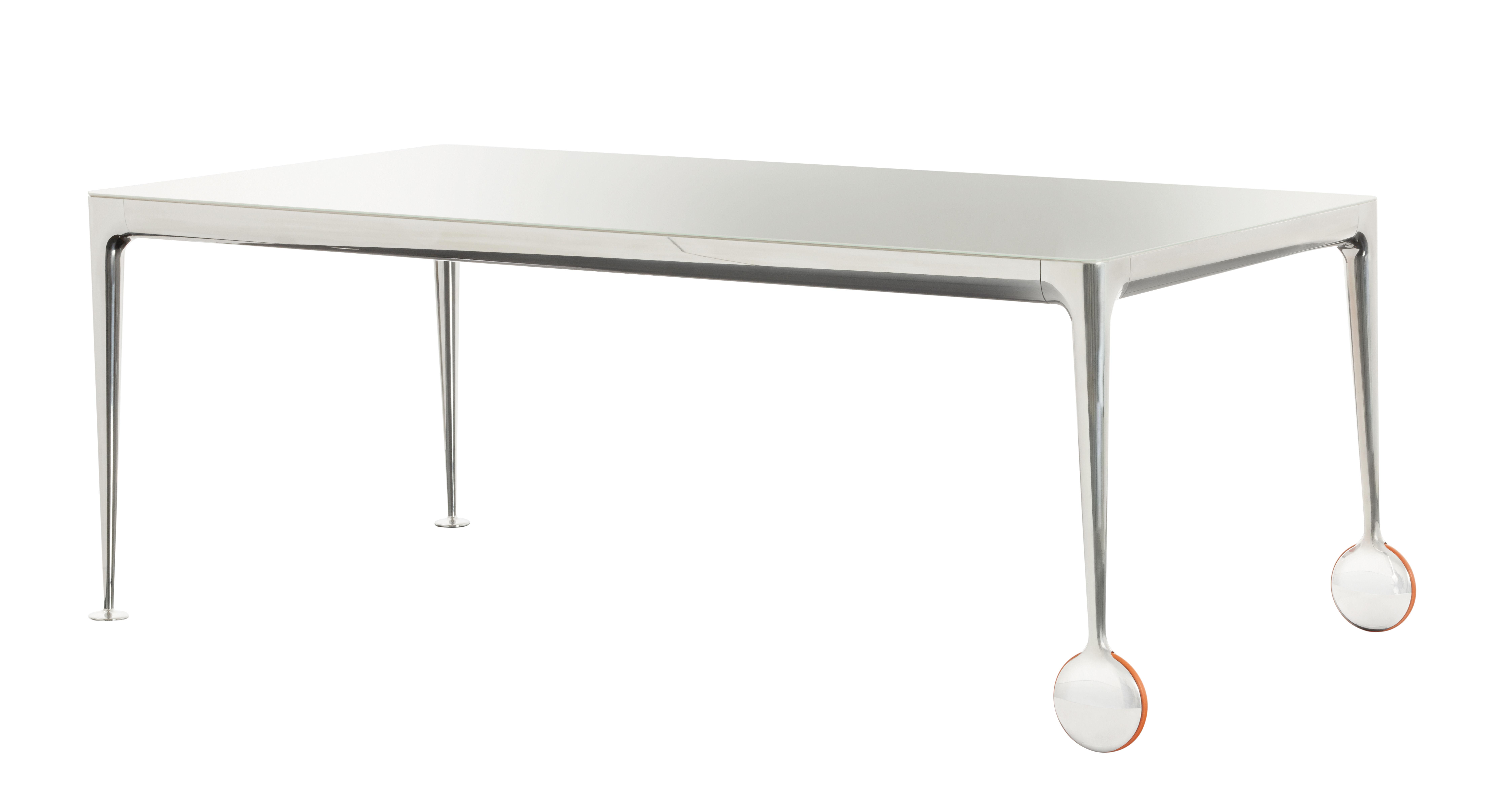 Arredamento - Tavoli - Tavolo rettangolare Big Will - / 240 x 110 cm di Magis - Piano bianco / Gambe alluminio lucidato - Ghisa di alluminio lucidato, Gomma, Vetro temprato