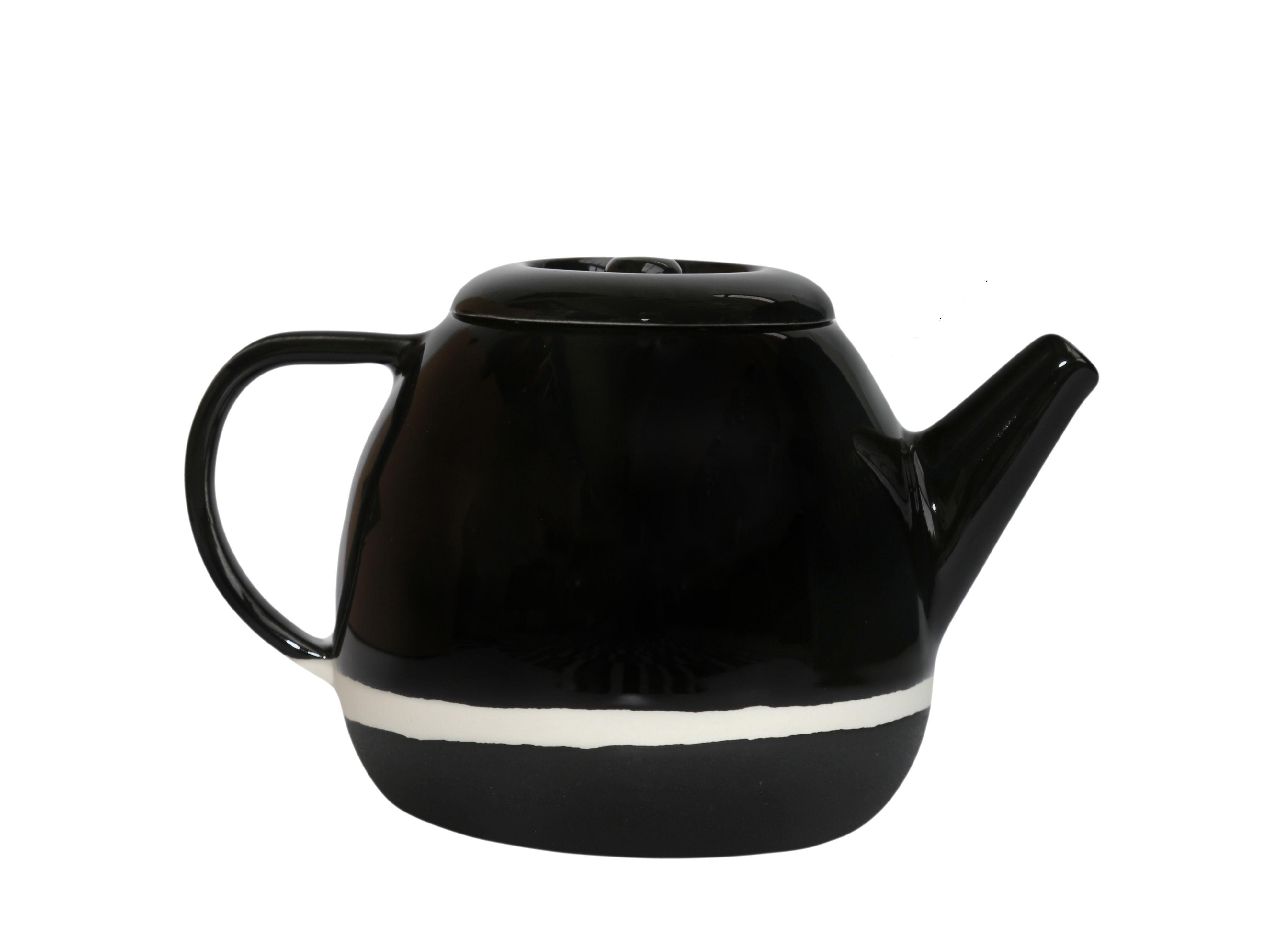 Kitchenware - Kettles & Teapots - Sicilia Teapot - / Ø 15 x H 14 cm by Maison Sarah Lavoine - Black radish - Painted, enamelled sandstone