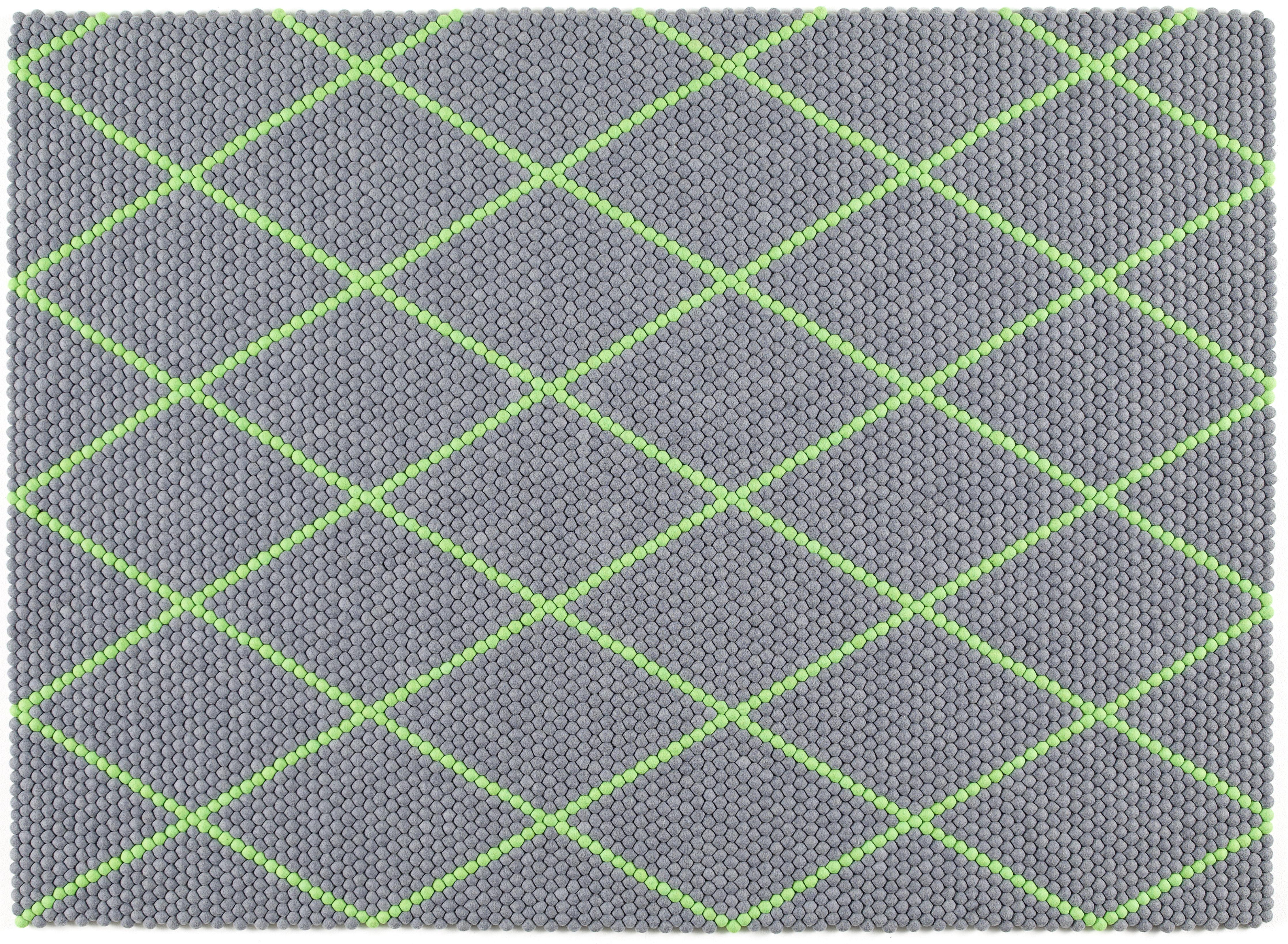 Möbel - Teppiche - S&B Dot Teppich 200 x 150 cm - Hay - Elektrischgrün / Dunkelgrau - Wolle