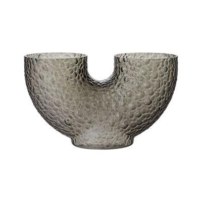 Déco - Vases - Vase Arura Small / Verre texturé - L 34 x H 19 cm - AYTM - H 19 cm / Gris - Verre soufflé bouche