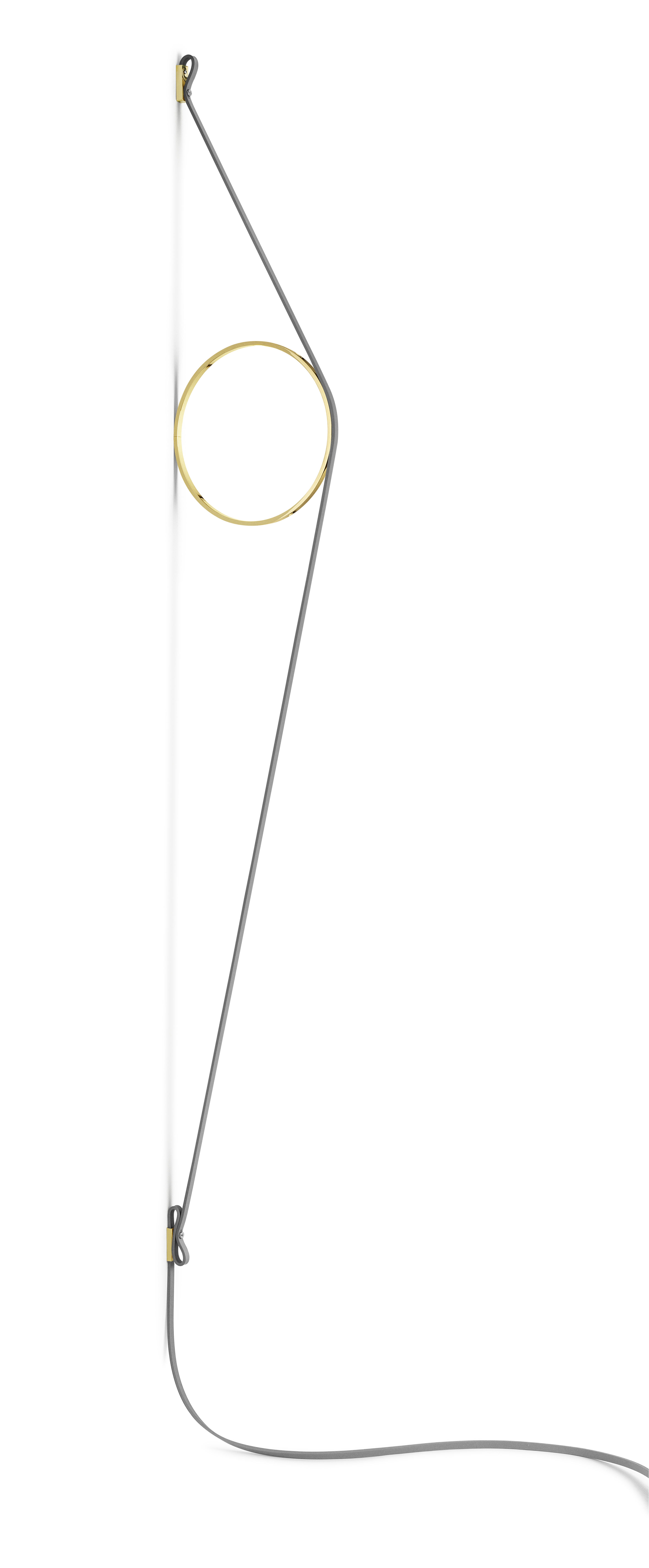 Lighting - Wall Lights - Wirering Wall light - / LED - H 208 cm by Flos - Grey cable / Gold ring - Aluminium, Rubber