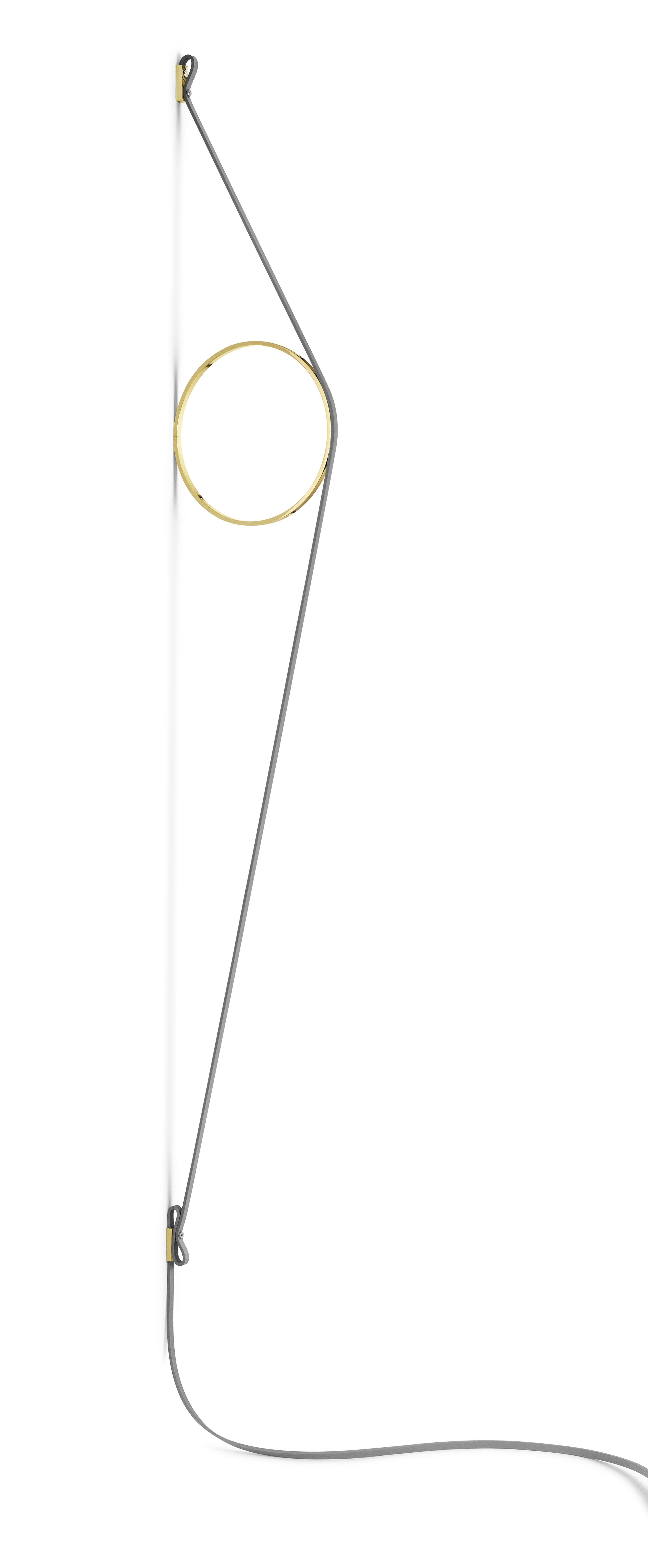 Leuchten - Wandleuchten - Wirering Wandleuchte / LED - H 208 cm - Flos - Kabel grau / Ring goldfarben - Aluminium, Kautschuk