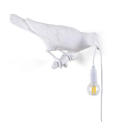 Applique avec prise Bird Looking Right / Outdoor - Seletti blanc en matière plastique