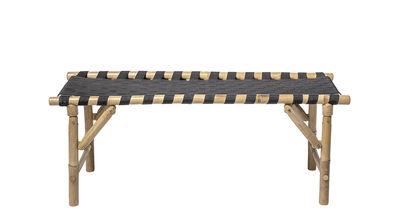 Möbel - Bänke - Vida Bank / L 115 cm - mit Klappfüßen - Bloomingville - Bambus & schwarz - Bambus, Gewebe