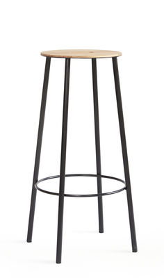 Möbel - Barhocker - Adam R031 Barhocker / H 76 cm - Frama  - Eiche & schwarz - Acier laqué époxy, geölte Eiche