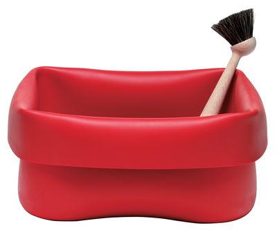 Bassine Washing-up Bowl en caoutchouc / Avec brosse - Normann Copenhagen rouge en matière plastique
