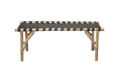 Furniture - Benches - Vida Bench - / L 115 cm - Collapsible legs by Bloomingville - Bamboo & black - Bamboo, Fabric