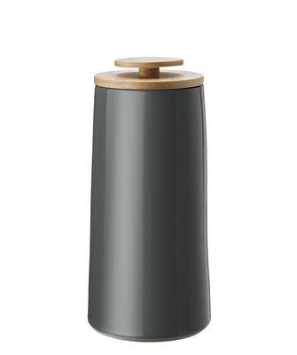 Arts de la table - Thé et café - Boîte hermétique Emma / Pour café - 1,2 L - Stelton - Gris foncé / 1,2 L - Bois de hêtre, Grès émaillé