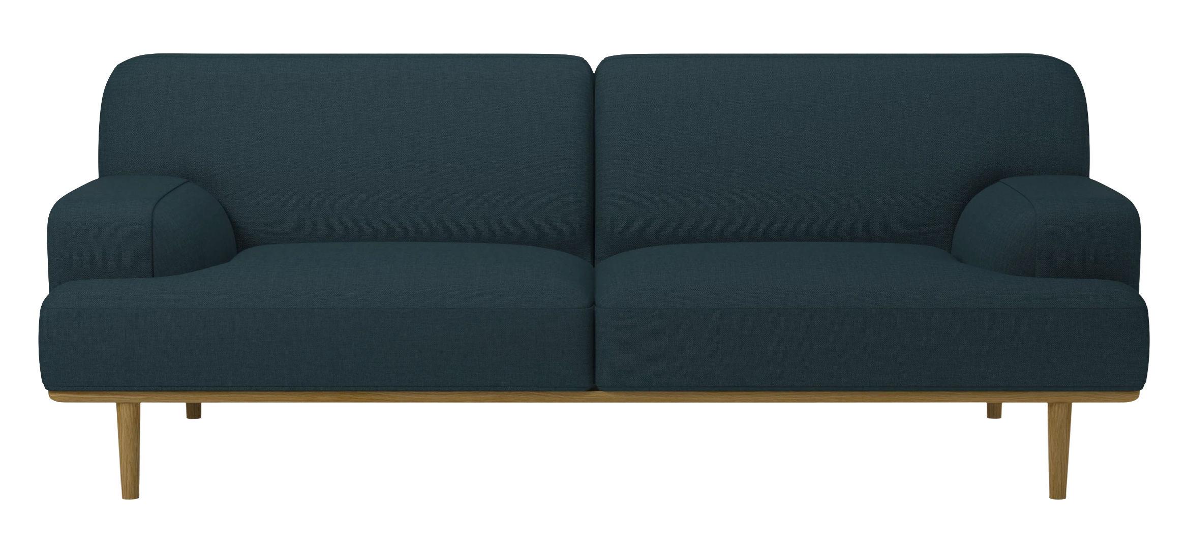Mobilier - Canapés - Canapé droit Madison Tissu / 2½ places - L 204 cm - Bolia - Bleu pétrole - Chêne, Mousse haute densité, Tissu