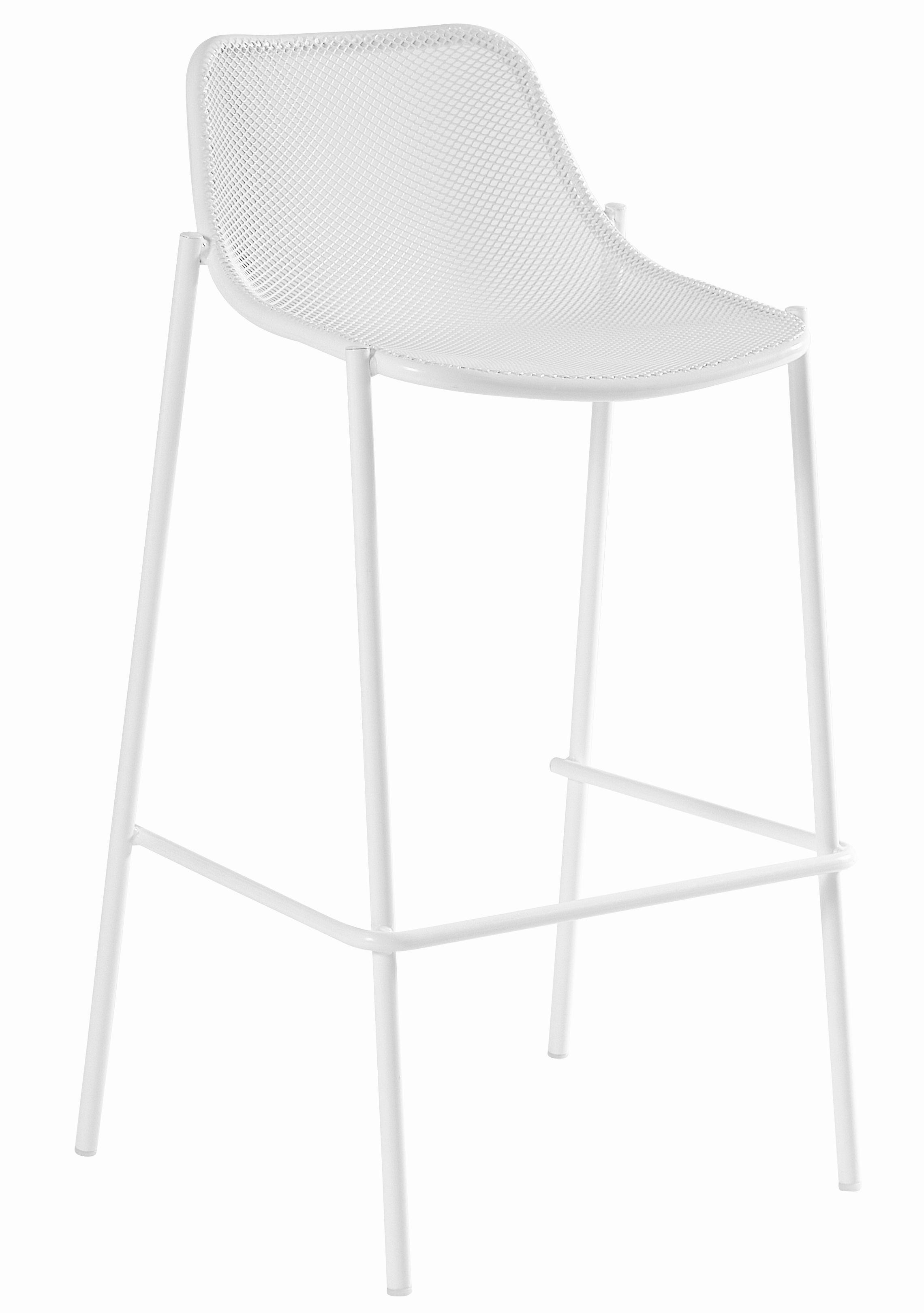 Mobilier - Tabourets de bar - Chaise de bar Round / Métal - H 78 cm - Emu - Blanc - Acier