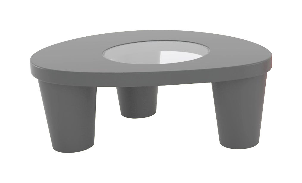 Furniture - Coffee Tables - Low Lita Coffee table - Low table by Slide - Grey - Glass, Polythene