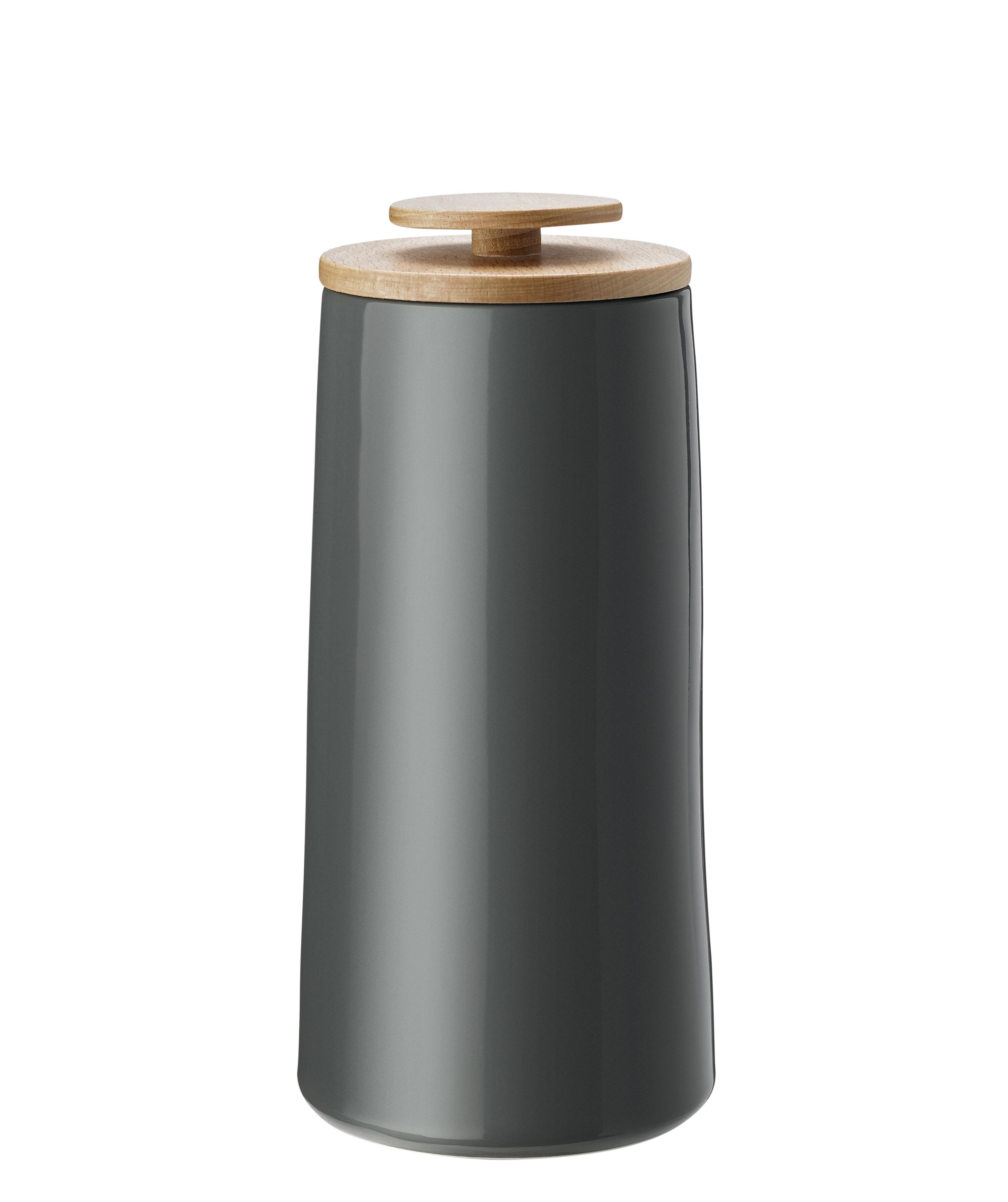 Tavola - Caffè - Contenitore ermetico Emma - / Per caffè - 1,2 L di Stelton - Grigio scuro / 1,2 L - Bois de hêtre, Gres smaltato