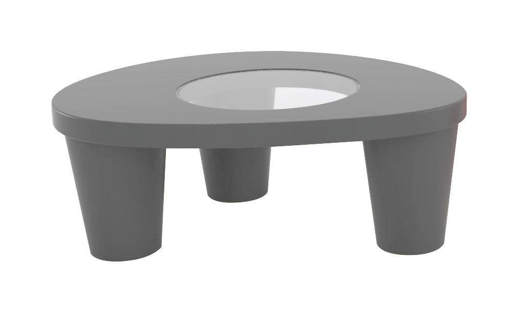 Möbel - Couchtische - Low Lita Couchtisch - Slide - Grau - Glas, Polyäthylen