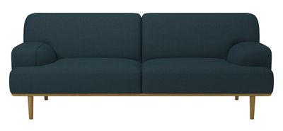 Arredamento - Divani moderni - Divano destro Madison - Tessuto / 2½ posti - L 204 cm di Bolia - Blu petrolio - Rovere, Schiuma ad alta densità, Tessuto