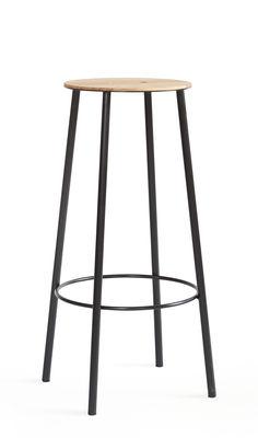 Furniture - Bar Stools - Adam R031 High stool - / H 76 cm by Frama  - Oak & black - Epoxy lacquered steel, Oiled oak