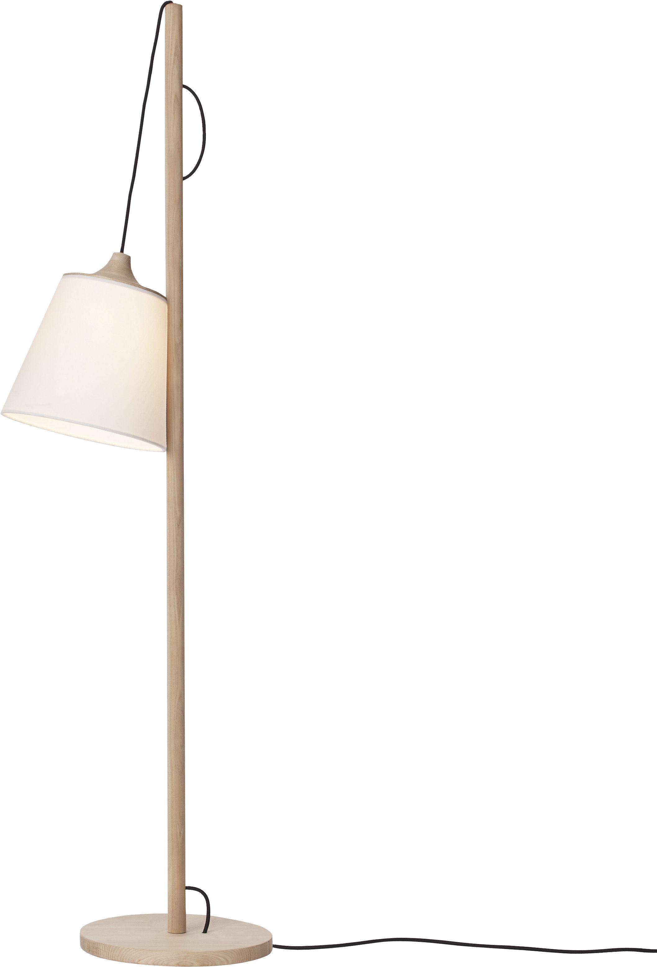 Illuminazione - Lampade da terra - Lampada a stelo Pull lamp di Muuto - Legno chiaro / paralume bianco - Frassino massello, Lino, Plastica