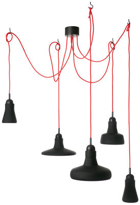 Lighting - Pendant Lighting - Shadows LED Pendant by Brokis - Black / red cable - Blown glass, Oak