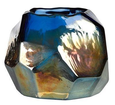 Photophore Graphic luster / Verre - H 10 cm - Pols Potten bleu en verre