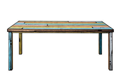 Möbel - Tische - Wrongwoods rechteckiger Tisch / 200 x 90 cm - Established & Sons - Mehrfarbig - bemaltes Furnier, bemaltes Holz