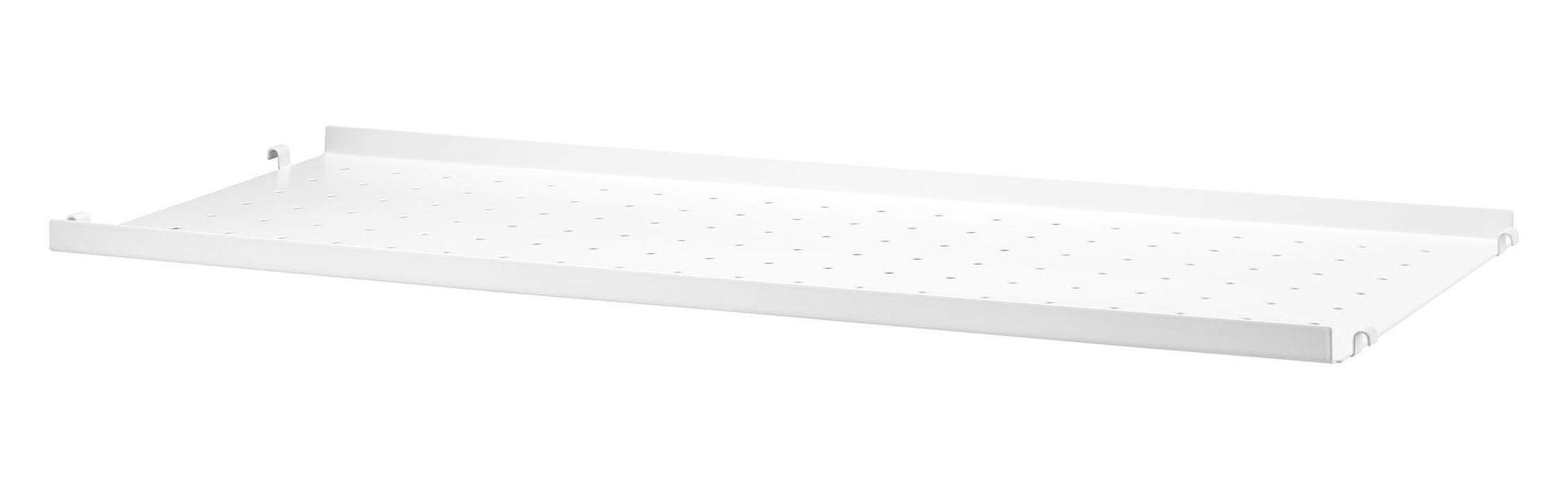 Möbel - Regale und Bücherregale - String System Regal / Lochblech, flacher Rand - L 78 cm x T 30 cm - String Furniture - L 78 cm / weiß - lackiertes Metall