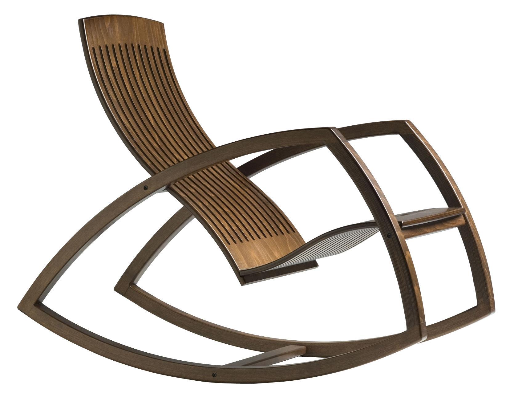 Möbel - Lounge Sessel - Gaivota Schaukelstuhl - Objekto - Buche getönt (nussbaumfarben) - Buchenfurnier