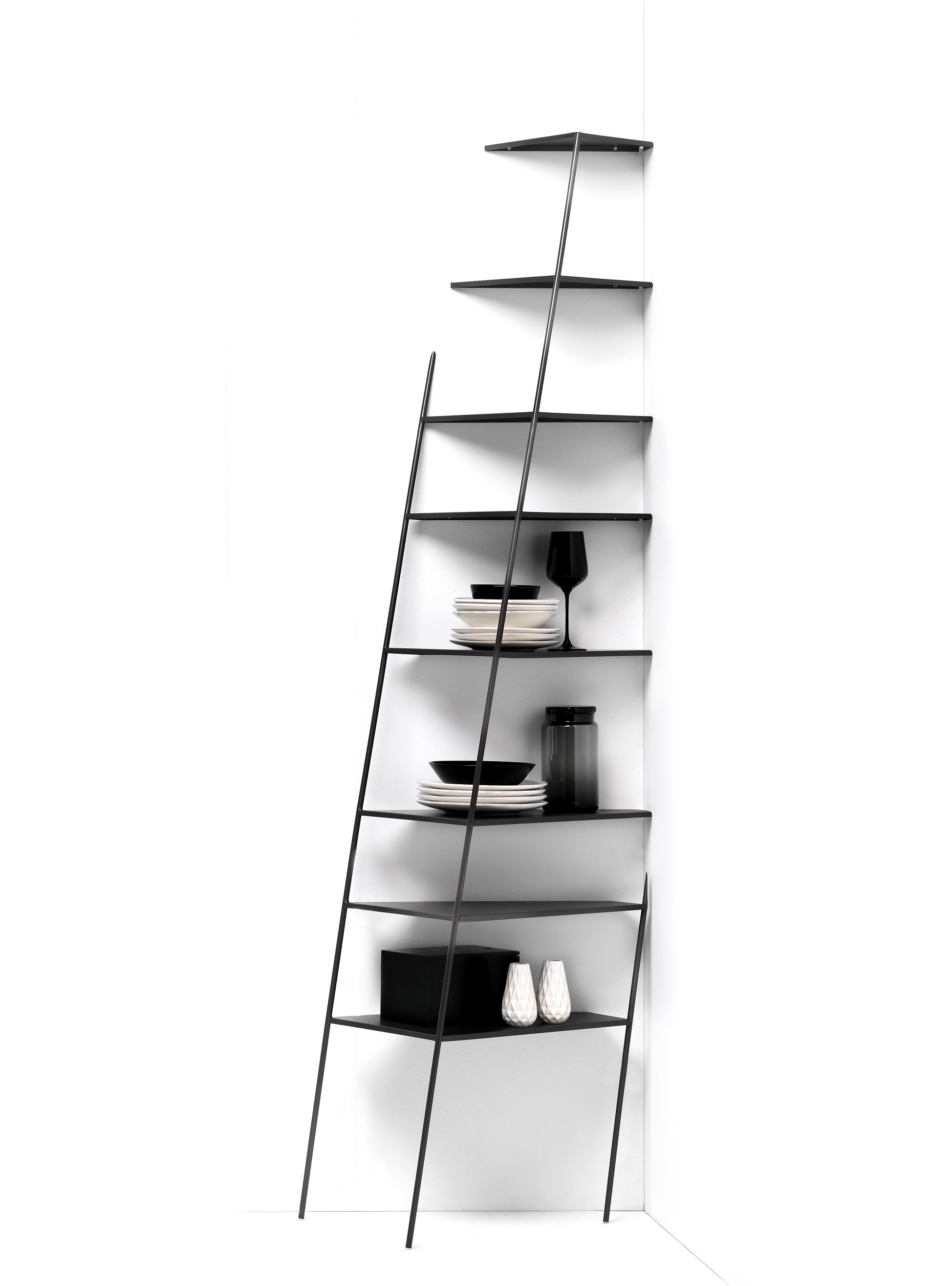 Furniture - Bookcases & Bookshelves - Mama' big Shelf - / Trompe l'œil - H 226 cm by Mogg - Black / Big - Painted metal