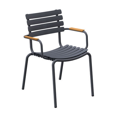 Furniture - Chairs - ReCLIPS Stackable armchair - /Bamboo armrests - Recycled plastic by Houe - Grey & bamboo - Bamboo, Recycled plastic, Thermolacquered aluminium