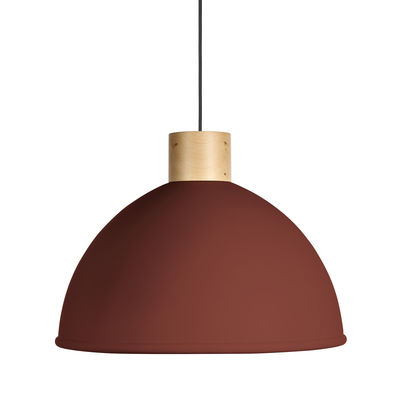 Luminaire - Suspensions - Suspension Olot / Ø 58,5 cm - Métal & bois - EASY LIGHT by Carpyen - Rouge Bauxite - Hêtre, Métal laqué