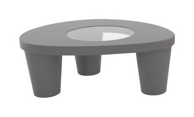 Table basse Low Lita / 90 x 74 cm - Slide gris en verre/matière plastique