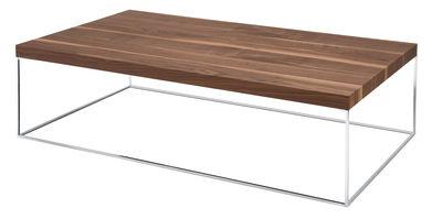 Mobilier - Tables basses - Table basse Oliver noyer - Zanotta - Noyer canaletto/Chrome - 140 x 80 cm - Acier chromé, Aggloméré plaqué noyer