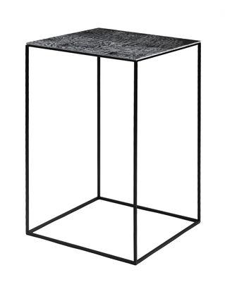 Table basse Slim Irony Art / 41 x 41 x H 64 cm- Plateau verre effet métal fondu - Zeus noir/métal en métal/verre