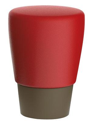 Mobilier - Tabourets bas - Tabouret Lau / H 45 cm - Coussin polyuréthane - Slide - Base chocolat / coussin rouge - Polyéthylène recyclable, Polyuréthane