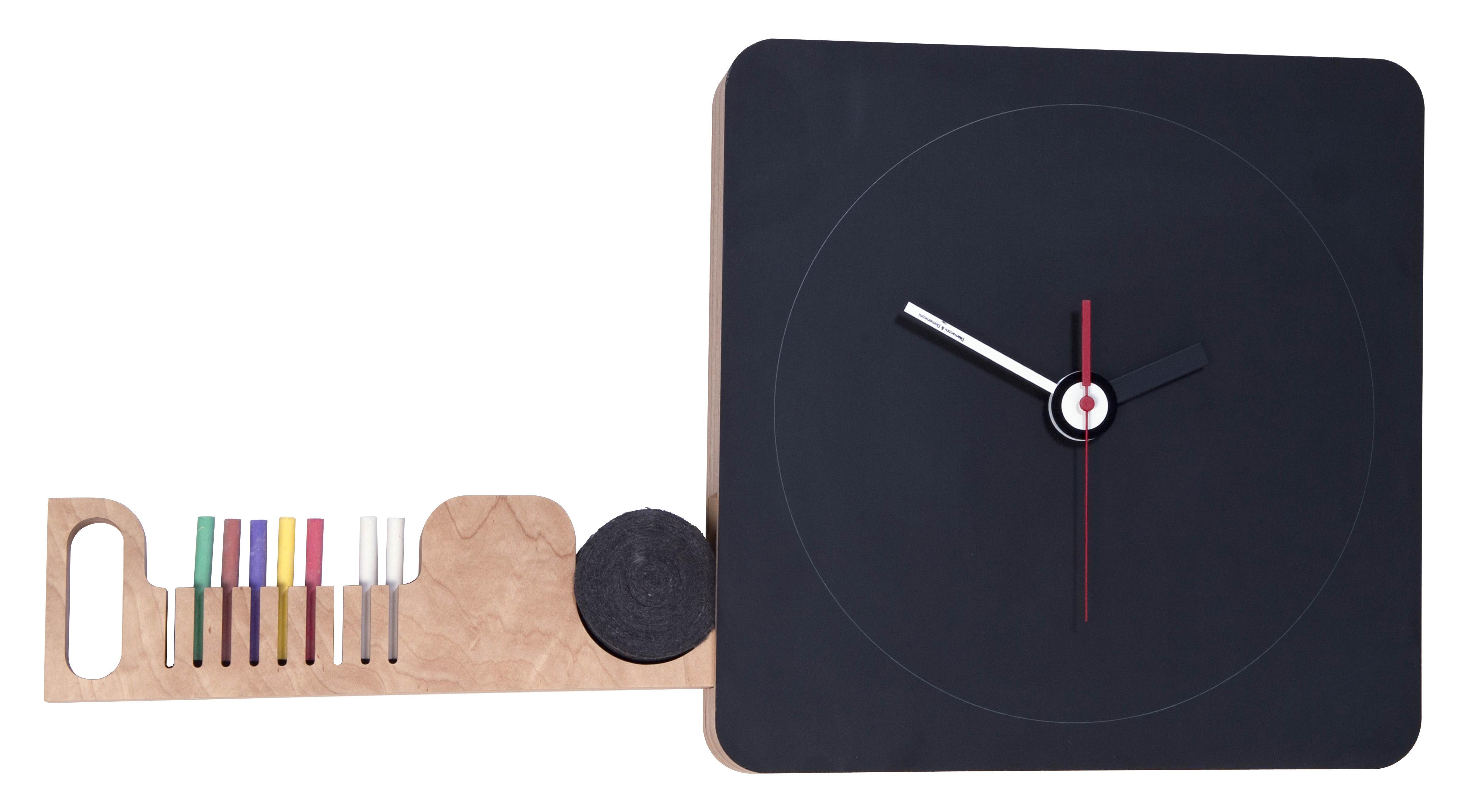 Decoration - Office - Tabla Wall clock - 42 x42 cm / Slate by Diamantini & Domeniconi - Slate dial - 9 chalks - Birch, Slate