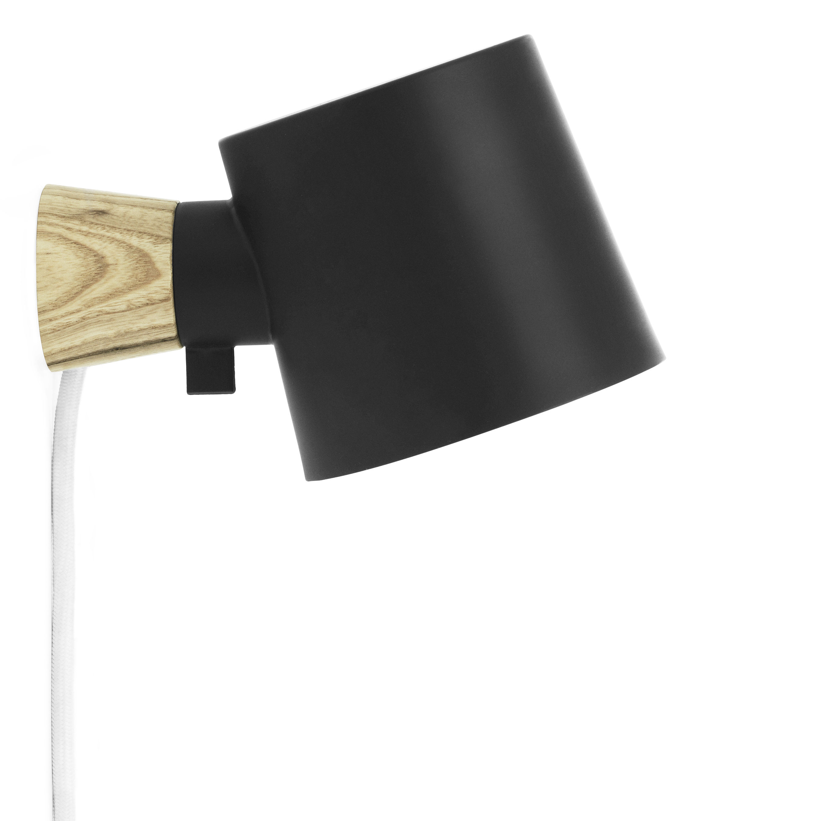 Lighting - Wall Lights - Rise Wall light with plug - Rotating / Wood & metal by Normann Copenhagen - Black - Ashwood, Lacquered metal