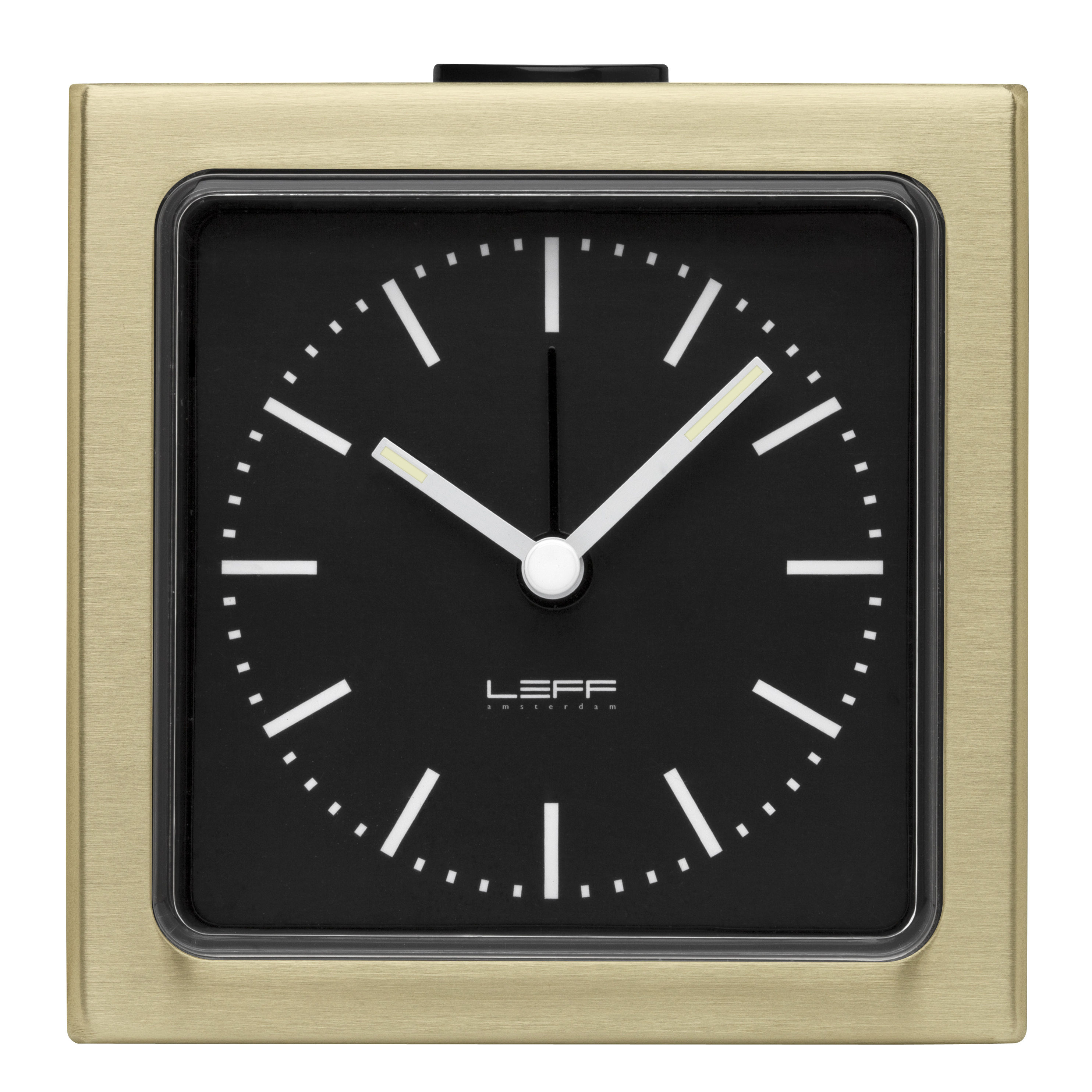 Accessories - Alarm Clocks & Travel Radios - Block Alarm clock - H 8,5 cm by LEFF amsterdam - Brass, black - ABS, PMMA, Stainless steel