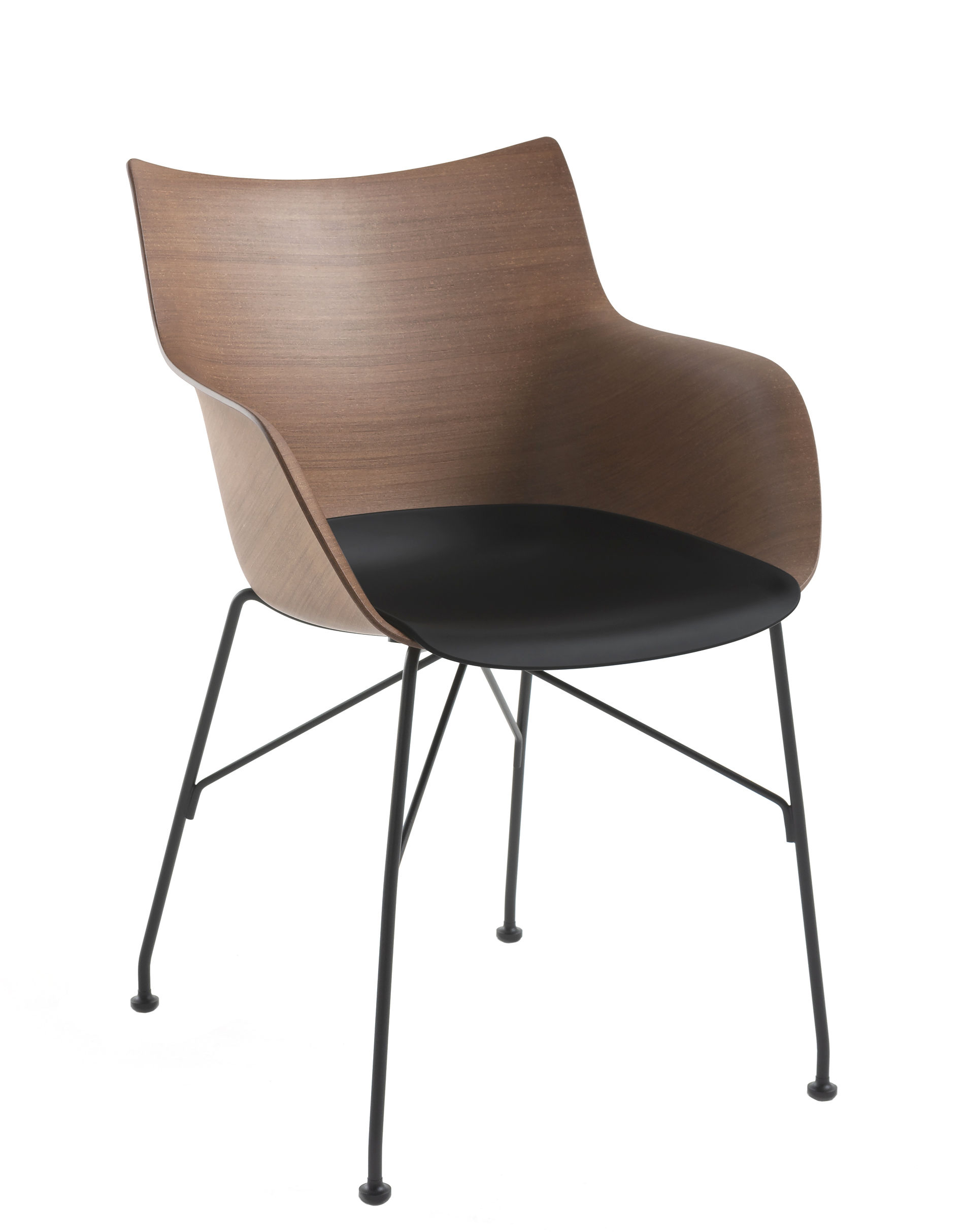 Furniture - Chairs - Q/Wood Armchair - / Moulded wood by Kartell - Dark beech & black / Black leg - Contreplaqué de hêtre teinté foncé moulé, Lacquered steel, Thermoplastic