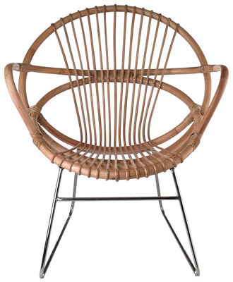 Furniture - Armchairs - Singapore Armchair by Pols Potten - Rattan / Nickel feet  - Nickel, Rattan