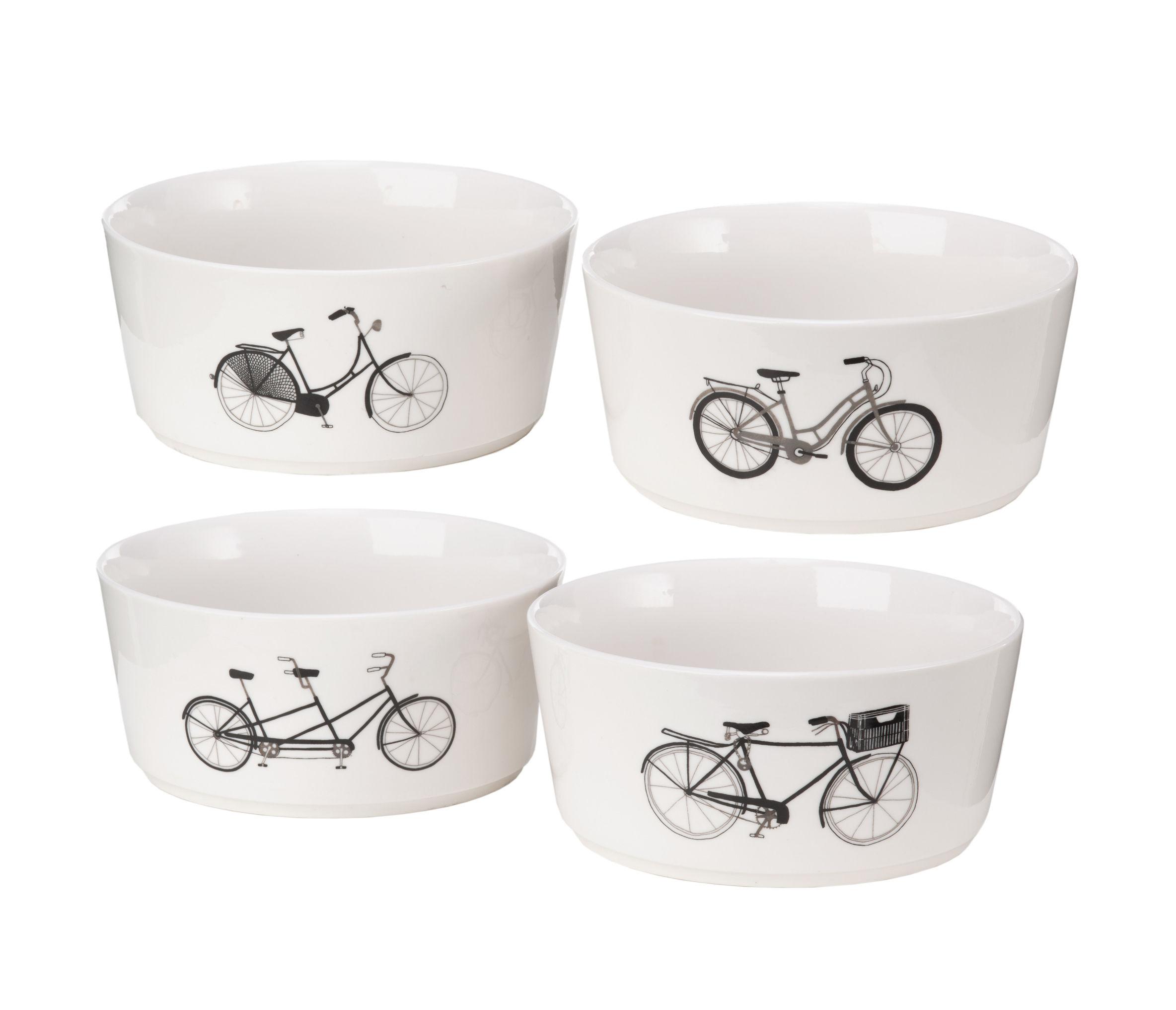 Arts de la table - Saladiers, coupes et bols - Bol Bikes / Set de 4 - Porcelaine - Pols Potten - Noir, blanc & argent - Porcelaine vitrifiée