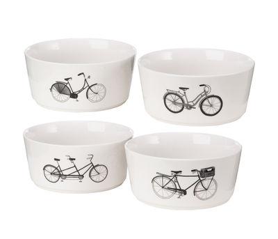 Tableware - Bowls - Bikes Bowl - / Set of 4 - Porcelain by Pols Potten - Black, white & silver - Vitrified porcelain